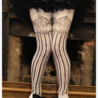 Burlesque Leggings - Womens garter Legging - IVORY - leggings - printed Tights - MEDIUM