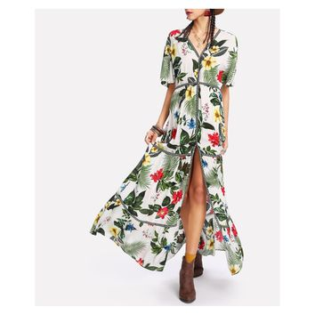 White Green Tropical Print Button Down Maxi Dress