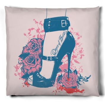 women shoe illustration with roses ornaments
