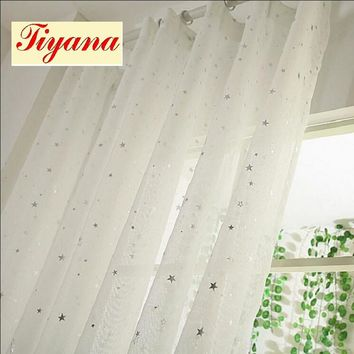 White Curtains Star Gauze screening Window Tulle Curtain Modern Fashion Fancy Tulle sitting room HOT SALE 2017 NEW WP234 *15