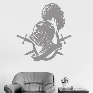 Vinyl Wall Decal Knight's Helm Feather Sword Warrior Middle Ages Stickers Unique Gift (1588ig)