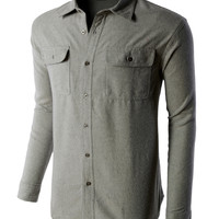 LE3NO PREMIUM Mens Heavyweight Regular Fit Solid Button Down Flannel Shirt
