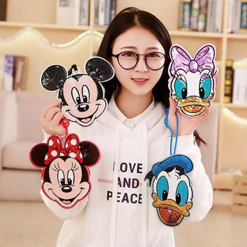 1pc Cute Mickey Minnie and Donald Coin & Card Bag Stuffed Plush Kawaii With sequins Purse Wallet for Kids Chritsmas Gifts