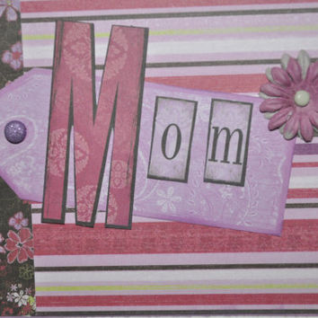 Mother's day card. Mothers birthday or thinking of you greeting Card. Handmade MOM Card.  Card for Mom, blank purple Mom card handmade