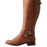 Cognac Belted Flat Riding Boots by Charlotte Russe