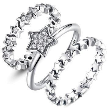 Genuine 925 Sterling Silver Stackable Ring Sparking Star Rings for Women  Clear CZ Wedding Band Engagement Jewelry S925