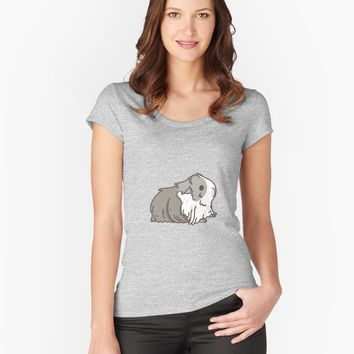"""Gray and white Silkie Guinea pigs and carrot Pattern "" Womens T-Shirt by Miri-Noristudio 