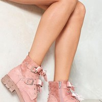 Bow the Score Vegan Suede Boot