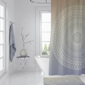 Lavender Cream Mandala Shower Curtain -  geometric mandala, subtle boho chic