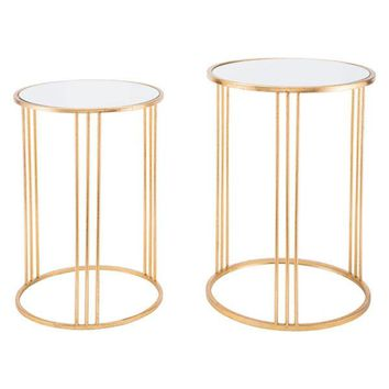 A10763 Magri Set Of 2 Nesting Round Tables Gld