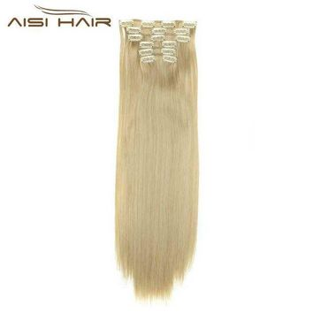 ac DCCKO2Q I's a wig Blond  Synthetic  Clips in Hair Extension Long Straight 22' 140g 16 Clips False Hair pieces  Brow Black White Color