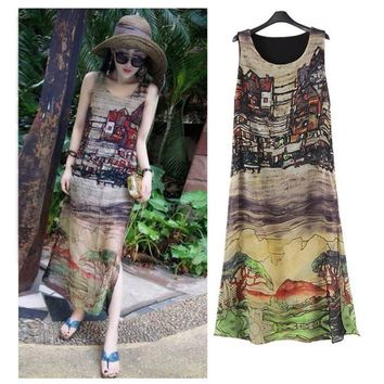 Women Sleeveless Dresses Silk Chiffon Long Maxi Dress Summer Casual Beach Sundress Vestido