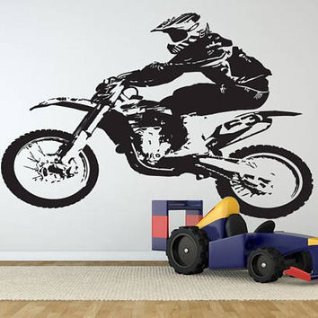 Dirt Bike Wall Decal, Motocross Wall Sticker, Motorsport Supercross Wall Mural Decor, Motorcycle Racing Room Decoration Enduro Bike se165