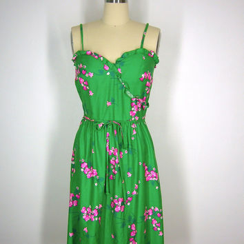 1980s Sundress / Green Floral Print Cotton / 80s Dress / Malia Hawaii Hawaiian Print / Size 8 Medium M