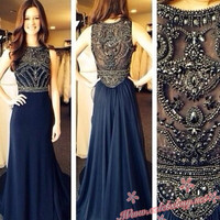 Sexy High Neck Beaded Prom Dress 2014 cheap gown plus size
