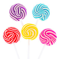 Squiggly Pops Petite Swirled Lollipops - Assorted: 48-Piece Box