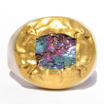 Rough Rainbow Pyrite Ring  24k Solid Gold and Silver by Ringsland