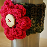 Camo Cup Cozy with Pink Flower