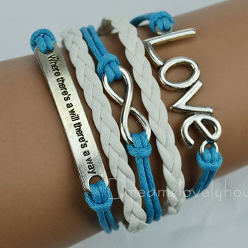 Christmas gift,LOVE  Infinity   Bracelet, Blue Wax Cords,White Braided leather cords CB-9-1