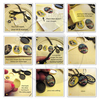 DIY Image Charm Pendant Kit - Pendant Trays - 25x18 Oval - Includes Tray, Necklace, Clear stickers and sticky tape
