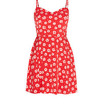 Red Strappy Floral Print Skater Dress