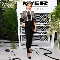 Hego 2016 Black Flower Lace Embroidery Bell Sleeve Jumpsuit Celebrity Style Hot Hollow Out Bodysuit