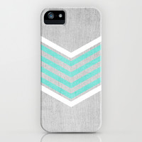 Teal and White Chevron on Silver Grey Wood iPhone & iPod Case by Tangerine-Tane