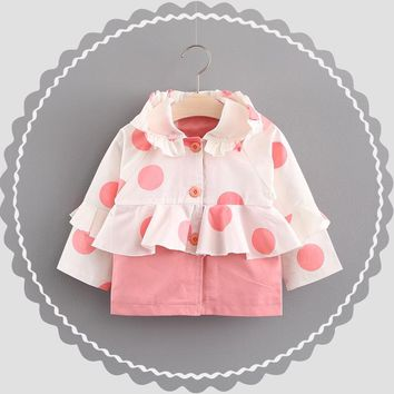 Autumn Children Princess Girls Hooded Dot Polka Patchwork Ruffles Cardigan Baby Infants Long Sleeve Outwear Coat Trench S5835