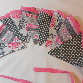 Pink And Gray Floral Bunting For Child's Room Or Party Decor