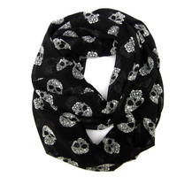 Skull Infinity Scarf, Eternity Scarf, Circle Scarf, Endless Loop Scarf, Skulls, Black, White