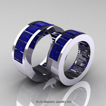 Art Masters Modern 14K White Gold Blue Sapphire Channel Cluster Wedding Band Set R174RS-14WGBS