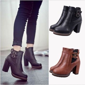 Women Thick With High Heel Double Buckle Elastic Bootie Zipper Martin Ankle Boot = 194