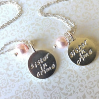 Sisiter In Crime thia Silver Handstamped Charm and Pink Swarovski Pearl Necklaces-Set of Two Best Friend Necklaces