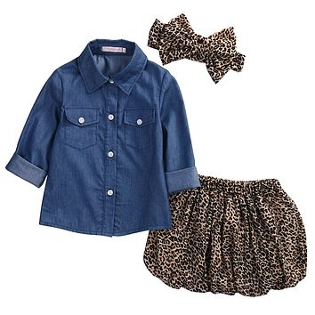 3PCS Cute Baby Girls Set +Leopard Skirt