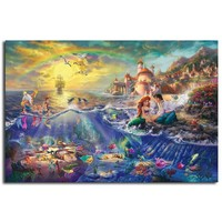 Thomas Kinkade The Little Mermaid And Tramp HD Painting Wall Art Print On Canvas Living Room Decorative Picture Home Decor