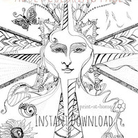 Adult Coloring Pages, Sun Illustration Zentangle, Instant Download, plus BONUS floral mandala pattern sheet