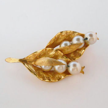 Miriam Haskell Brooch Peapod Pearl Pin Peas In A Pod