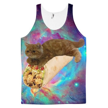 Cat Food Cats In Space Kitten On A Burrito In The Galaxy Tie Dye Food Lover Cat Lover Dye Sublimation All Over Print 3D Full Print Cotton Polyester Unisex Novelty Brown Blue Turquoise Purple Red & Green Tank Top
