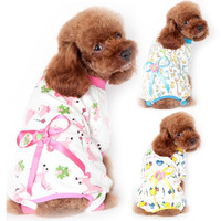 Cute Cartoon Pattern Pet Dog Cotton Pajamas Clothing Coat Clothes Apparel