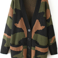 Long Sleeve Camouflage Pockets Buttons Coat
