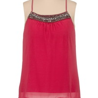 Plus Size - Embellished Neck High-Low Racerback Tank