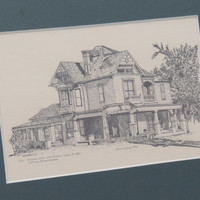 Vintage Pen & Ink Print The Niels Petersen House Tempe Arizona Queen Anne Architecture