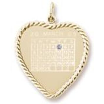 Calendar Disc Charm in Yellow Gold Plated
