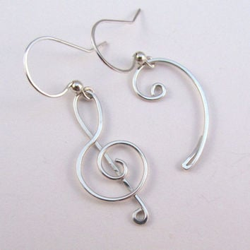 Treble Clef Bass Clef Earrings - Silver Filled Wire Wrapped Dangle - Music Lover, Piano, Musical Jewelry