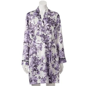 Apt. 9 Lavender Rose Satin Wrap Robe - Women's, Size:
