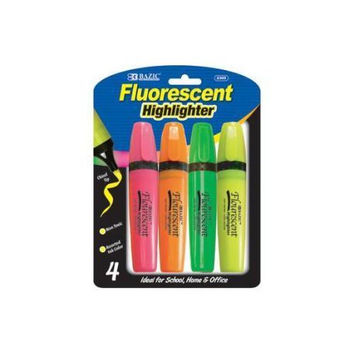 BAZIC Fluorescent Highlighters w/ Pocket Clip (3/Pack)