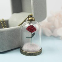 Beauty and The Beast Rose Vial Pendant Necklace