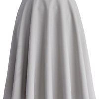 Neutral Grey Belted A-line Skirt