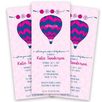 Pink Hot Air Balloon Invitation - Girl Baby Shower Invitations - Its a Girl - Up up and Away - Pink and Navy Baby Shower Invite