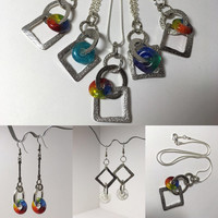 Stocking Stuffer Handmade Glass Charm Pendant - Matching Earrings also available - Small Business Saturday Discount